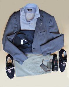 Americana Azul Rayas E.YUSTE Camisa Azul Microdibujo DELSIENA Pantalon TRUSSARDI JEANS Camisero GRAN SASSO Zapatos y Cinturon de LEYVA