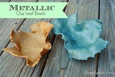 Gingerly Made: Metallic Clay Leaf Bowl