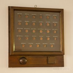 The original 1930's bell boards at Coombe Lodge which are still used by the staff