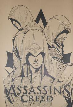 A minimalist poster wth Ezio, Altair, Connor, Aveline and Edward