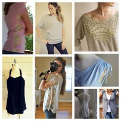 Eco Sewing Round-Up: 8 T-Shirt Refashions - A Sewing Journal - A Sewing Journal -- like the middle top one. Diy Clothes Tutorial, Diy Clothes Refashion, Shirt Refashion, Diy Shirt, Diy Clothing, Sewing Clothes, Shirt Tutorial, Diy Tank, Diy Clothes Organiser