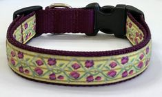Dog Collar:Purple/Pink Flowers/Vines Dog Collar,Designer Jacquard Girl Dog Collar,Puppy/Adult/Pet Collars,Pet Supplies,Pooch Collar,Vet Gift by TwistnShoutDesigns on Etsy