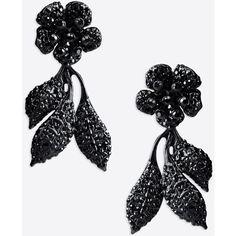 Valentino Garavani Pendant Flower Earrings ($470) ❤ liked on Polyvore featuring jewelry, earrings, black, black pendant, rhinestone stud earrings, black earrings, black rhinestone jewelry and flower jewelry