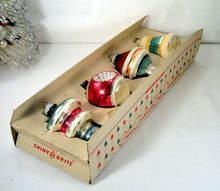 Shiny Brite Vintage Glass Shapes Christmas Ornaments in Fanci-Pak Carton