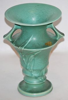 Roseville Pottery Crystal Green Vase 933-7 from Just Art Pottery