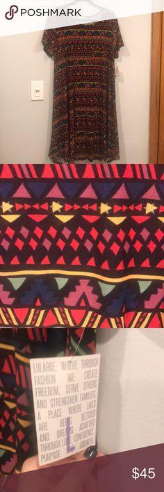 Lularoe Carly dress L NWT Black base with multi color print LuLaRoe Dresses