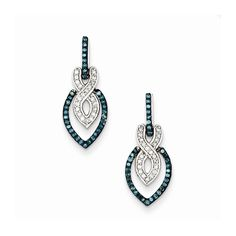 Sterling Silver Blue and White Diamond Dangle Post Earrings Attributes Post;Sterling silver;Diamond;Dangle;Blue diamond;Rhodium-plated;Gift Boxed Product Type:Jewelry Jewelry Type:Earrings Earring Typ