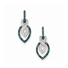 Sterling Silver Blue and White Diamond Dangle Post Earrings – Goldia.com