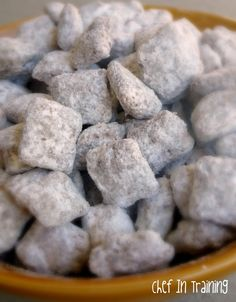 Puppy Chow is my favorite snack/dessert to make. This puppy chow uses Nutella and hazelnuts. This isn't puppy chow. This is The Best Thing To Ever Be Made. Köstliche Desserts, Delicious Desserts, Dessert Recipes, Yummy Food, Tasty, Plated Desserts, Chex Mix, Monkey Munch Recipe, Puppy Chow Recipes