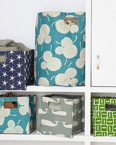 "Garnet Hill - Printed Canvas Storage Bins - Poly lined cotton canvas  Small: 10"" W x 10"" D x 10"" H  Large: 14"" W x 14"" D x 10"" H  Hamper: 18 1/2"" H x 15"" D"
