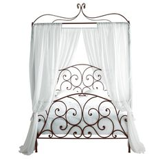 Metal 140 x 190cm double four-poster bed in brown