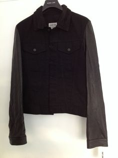 Helmut Lang Men's Black Denim & Leather Jacket Size 40"