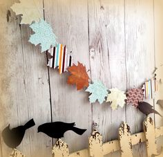 Fall Leaf Paper Garland  Autumn Woodland Decoration Leaf Banner Party Decoration Nature Paper Leaves Garland Photo Prop 6 Ft.