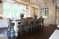 Mod Frugal captured the 12 1/2 ft island in the Castle Homes designed kitchen of the Nashville Symphony Show House. Psst, the chairs are from Overstock.com! NashSymphShowHse-411