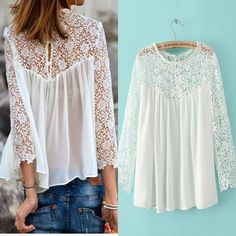 brand white lace blouse for women/chiffon renda blusa/long sleeve shirt crochet/transparent sexy XL plus size tops women BL032