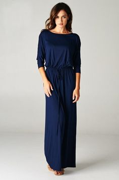 3/4 Boyfriend Maxi - Navy | Sleeve, Style and Maxi dresses