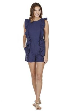 This navy linen romper has a round neck with fun ruffles down the front. It has a button and triangular cutout in the back, and is fitted. It Linen. Ruffles, The Selection, Jumpsuits, Rompers, Navy, Shopping, Collection, Dresses, Fashion