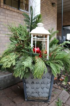 Your porch is the first thing people see. Flowers in summer, but what about winter? Why not make a quick and easy winter porch pot? Christmas Urns, Christmas Crafts, Christmas Decorations, Xmas, Christmas Ideas, Winter Porch, Window Box Flowers, Christmas Time Is Here, Porch Decorating