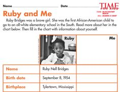 Grade 2 students read a chart about Ruby Bridges and her life then fill it in to compare themselves to her:  http://www.timeforkids.com/news/black-history-month-printables/144461