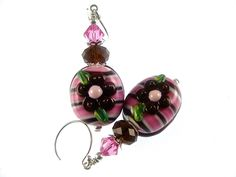 Lampwork Earrings Floral Chocolate Earrings Glass Bead Earrings Pink Brown Handmade Earrings Glass Bead Jewelry Lampwork Jewelry by JadjusJewelry on Etsy https://www.etsy.com/ca/listing/187852738/lampwork-earrings-floral-chocolate