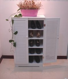 Wooden Shoe Cabinet With Double Louvered Homecharm Kitchen Pantry Storage Cabinet, Shoe Cupboard, Storage Cabinets, Accent Furniture, Living Room Furniture, Wooden Shoe Cabinet, Best Closet Organization, Bathroom Wall Cabinets, Thing 1