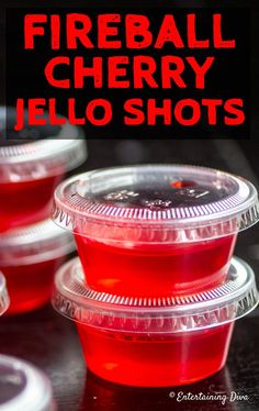 This Fireball cherry Jello shots recipe is the best! I love the cinnamon flavor … This Fireball Cherry Jello Shots recipe is the best! I love the cinnamon flavor and the red jello is perfect for my Super Bowl party. Malibu Jello Shots, Cherry Jello Shots, Blue Jello Shots, Margarita Jello Shots, Alcohol Jello Shots, Jello Shooters Recipe Vodka, Summer Jello Shots, Fireball Margarita Recipe, Gourmet