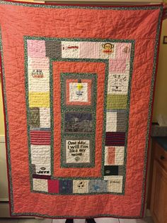 Memory quilt made with baby clothes.