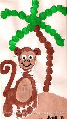 Footprint Monkey Craft and Fingerprint Palm Tree