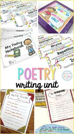 Poetry writing unit includes many activities to teach how to write 13 different types of poetry (acrostic, shape, haiku, diamante, color, and more). There are posters for each poetry types and for poetic terms.