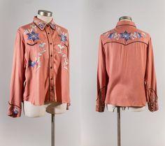 Vintage dusty rose western shirt / peach by downhomedarling