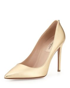 Valentino Metallic Leather Pointy Pump, Gold $695