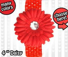 Ema Jane (Red on Red) 3-in-1 Gerber Daisy Flower Hair Clip Bow on Soft Stretch Crochet Child Headband Fits Babies to Toddlers to Youth Girls (Many Colors Available) iLifeProducts. $5.08