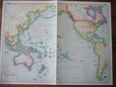 Pacific Ocean  Original 1920s Vintage Fold Out by Thepapermuseum, $12.00
