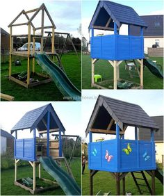 Another idea to create a kids playland is here, this is attractive more than the idea shown earlier. This idea is better for the girls because it is decorated with the butterflies which are sensitive like the girls. Car theme can be used for the decoration if this idea is for boys.