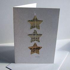 bladmuziek en een oud kerstverhaal daaruit 3 sterren stansen en met de machine op een witte kaart stikken eenvoudig maar heel mooi
