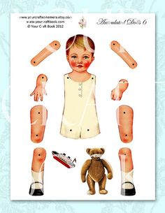 Vintage Paper Doll Digitial By Yourcraftephemera Dolls Shoes Template