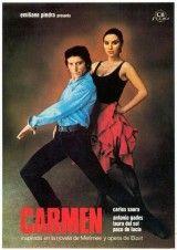 """CARMEN (1983) de Carlos Saura. Narra la historia de Antonio, el director de una compañía de baile que está trabajando en el montaje de la """"Carmen"""" de Bizet. Cuando encuentra a la protagonista ideal, que también se llama Carmen, inicia con ella una relación enfermiza que reproduce el libreto de la ópera."""