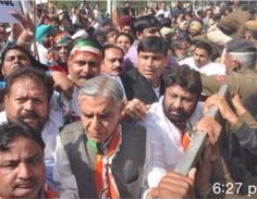 #Pawan_kumar_bansal in a Rally against the land acquisition ordinance.