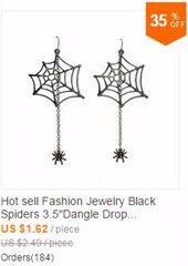 """Heet verkoop Mode sieraden Black Spiders 3.5 """"Dangle Drop Oorbellen ZZI Cool…"""