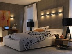 50 Enlightening Bedroom Decorating Ideas for Men 8  I like the concept here.  The headboard wont do for anyone's comfort.  Never completely choose style over comfort, There is ALWAYS a way to have both!