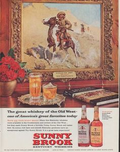 """Description: 1961 SUNNY BROOK vintage print advertisement """"The great whiskey of the Old West""""""""... one of America's great favorites today. Many fine Kentucky whiskies were available to the frontiersmen and settlers of the Old West ..."""" Size: The dimensions of the full-page advertisement are approximately 11 inches x 14 inches (28cm x 36cm). Condition: This original vintage advertisement is in Very Good Condition unless otherwise noted ()."""