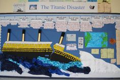A super The Titanic Disaster classroom display photo contribution. Great ideas for your classroom! Class Displays, School Displays, Classroom Displays, Photo Displays, History Projects, Fair Projects, School Projects, Art History, Titanic Art
