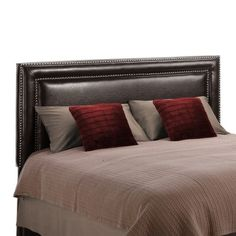Dorel Living Faux Leather Upholstered Full Queen Headboard in Espresso - WM3879H-FQ