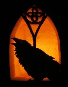 Gothic Raven Jack-o-lantern by deathmango.deviantart.com on @deviantART Cute Pumpkin, Pumpkin Faces, Pumpkin Ideas, Pumpkin Designs, Pumpkin Art, Pumpkin Carving Patterns, Amazing Pumpkin Carving, Pumkin Carving, Halloween Cosplay