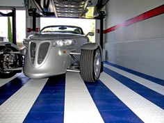 Stunning Garage Floor Tiles With White And Blue Color Design Combined With Grey Wall Interior Decoration Ideas For Inspiration To Your House Garage Floor Tiles, Tile Floor, Garage Flooring, Modern Design Pictures, Cool Garages, Interior Decorating, Interior Design, House And Home Magazine, Concrete Floors