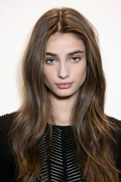 Taylor Hill proves that less is more with a pink pout and rosy cheeks