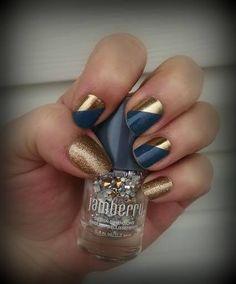Prince Charming by Jamberry Nails. http://laurennorris.jamberrynails.net/product/prince-charming#.VQOMv47F9MQ #bluemanicures #blueandgoldnailart