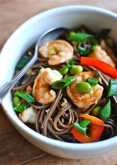 Soba noodle soup with shrimp & veggies