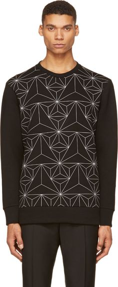 Black Geometric Print Neoprene Sweatshirt  :  Neil Barrett