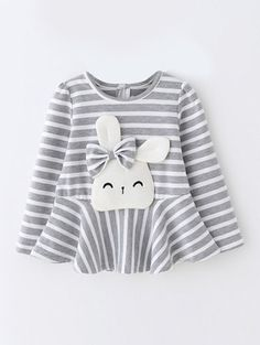 Long Sleeve Cartoon Rabbit Kids Striped T-Shirt, , Baby Girl Fashion, Girl Dress Patterns, Clothing Patterns, Toddler Outfits, Kids Outfits, Baby Outfits, Little Girl Dresses, Sewing For Kids, Kind Mode, Sewing Clothes